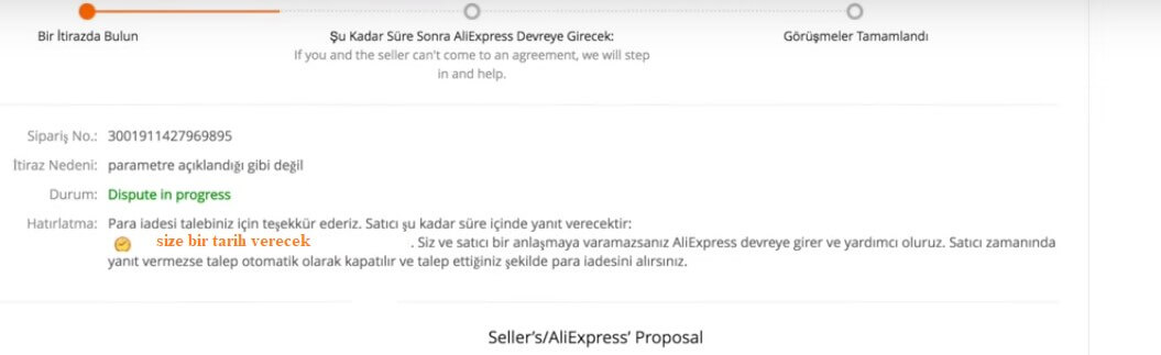 aliexpress türkçe dispute